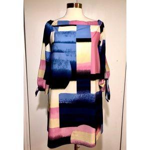 Nicole Miller Geometric Print Midi Dress Sz 6